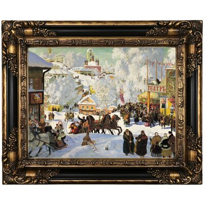 'Maslenitsa 1919 Depicts the Eastern Orthodox holiday Maslenitsa' Framed Oil Painting Print on Canvas Format: Black/Bronze Framed, Size: 17.25