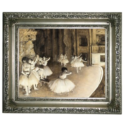 'Ballet Rehearsal on Stage 1874' by Edgar Degas Framed Print on Canvas Format: Silver Frame, Size: 11