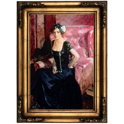 'Clotilde' Framed Oil Painting Print on Canvas Format: Copper Framed, Size: 22.5'' H x 16.5'' W x 1.75'' D