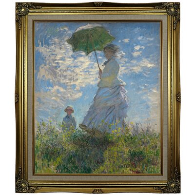 'On the Rock Cliff; Madame Monet and Her Son Jean' Framed Oil Painting Print on Canvas Format: Black Gold Framed, Size: 29.25