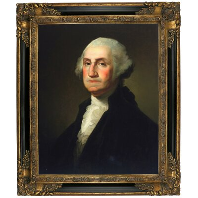 'George Washington 1854' Framed Oil Painting Print on Canvas Format: Black/Gold Framed, Size: 25.25