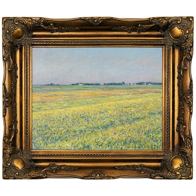 'The Plain of Gennevilliers, Yellow Fields 1884' Framed Oil Painting Print on Canvas in Gold Format: Dark Gold Framed, Size: 16.5