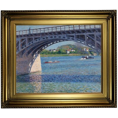 'Bridge at Argenteuil and the Seine Le Pont Dargenteuil' Framed Oil Painting Print on Canvas Format: Dark Bronze Framed, Size: 22'' H x 26'' W x 1.5'' D