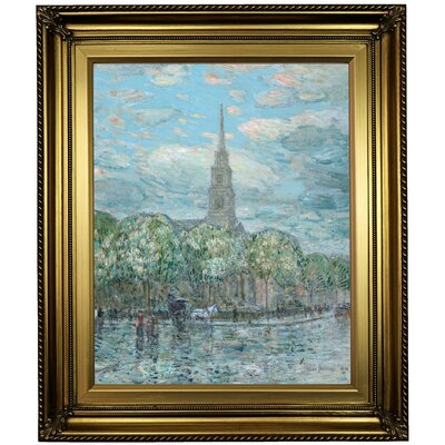 'St. Marks in the Bowery 1910' Framed Oil Painting Print on Canvas Format: Light Gold Framed, Size: 26