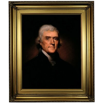 'Thomas Jefferson 1800' Framed Oil Painting Print on Canvas Format: Light Gold Framed, Size: 26