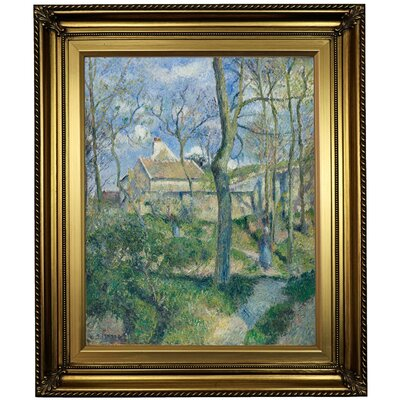 'The Path to Les Pouilleux, Pontoise 1881' by Camille Pissarro Framed Oil Painting Print on Canvas in Gold Format: Light Gold Framed, Size: 26