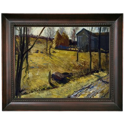 'Haystacks and Barn 1909' Framed Oil Painting Print on Canvas Format: Dark Gray Framed, Size: 15.5