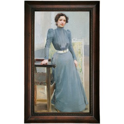 'Portrait of His Wife Clotilde in a Grey Dress 1900' Framed Oil Painting Print on Canvas Format: Dark Brown Framed, Size: 25.5