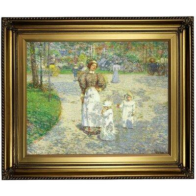 'Spring in Central Park 1908' Framed Oil Painting Print on Canvas Format: Light Gold Framed, Size: 22