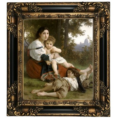 'Le Repos Rest' Framed Oil Painting Print on Canvas Format: Black/Gold Framed, Size: 19.25