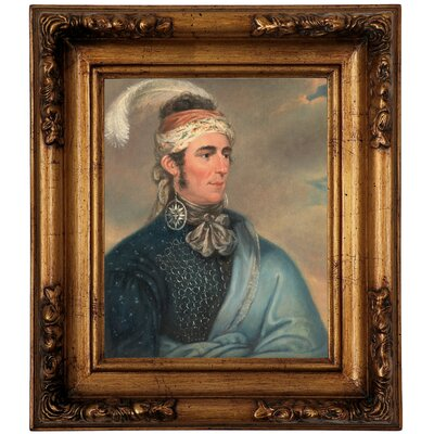 'Portrait of Major John Norton as Mohawk Chief Teyoninhokarawen' Framed Oil Painting Print on Canvas Format: Antique Gold Framed, Size: 14.5