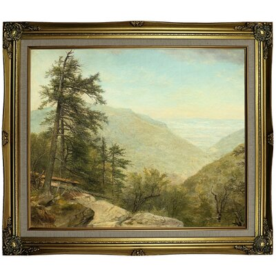 'Kaaterskill Clove 1866' Framed Oil Painting Print on Canvas Format: Gray/Gold Framed, Size: 25.25
