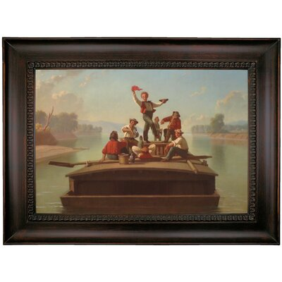 'The Jolly Flatboatman' Framed Oil Painting Print on Canvas in Gold ARGD4523 43588007