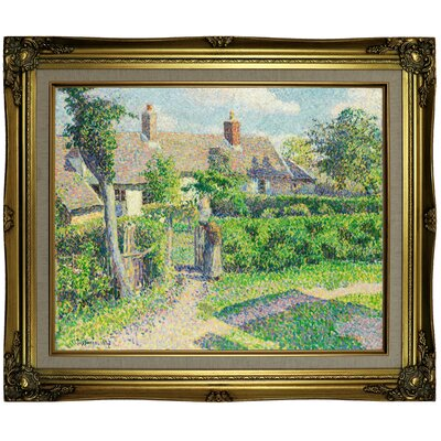 'Peasants houses; Eragny 1887' by Camille Pissarro Framed Oil Painting Print on Canvas Format: Brown/Gold Framed, Size: 21.25