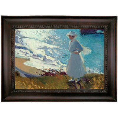 'Maria on the Beach at Biarritz or Contre-jour 1906' Framed Oil Painting Print on Canvas Format: Brown Coffee Framed, Size: 26