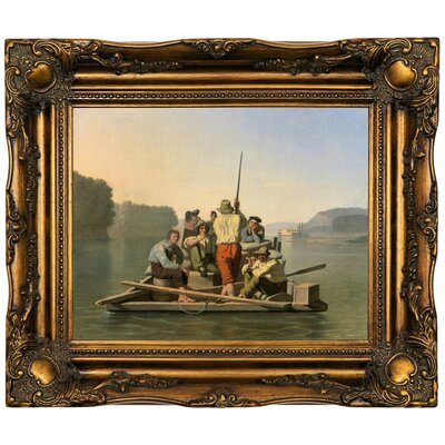 'Lighter Relieving a Steamboat Aground 1847' Framed Oil Painting Print on Canvas Format: Bronze Framed, Size: 16.5