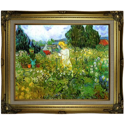 'Marguerite Gachet in the Garden' by Vincent van Gogh Framed Oil Painting Print on Canvas Format: Antique Gold Framed, Size: 21.25