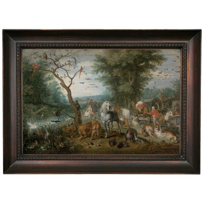 'Paradise Landscape with Animals 1613' Framed Oil Painting Print on Canvas Format: Dark Brown Framed, Size: 15.5