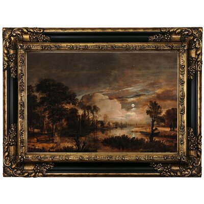 'Moonlit Landscape with a View of the New Amstel River and Castle Kostverloren 1647' Framed Oil Painting Print on Canvas Format: Black Framed, Size: 17.25