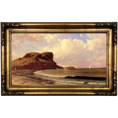 'Castle Rock, Nahant, Massachusetts 1877' Framed Oil Painting Print on Canvas Format: Black/Yellow Framed, Size: 16.5'' H x 26.5'' W x 1.75'' D