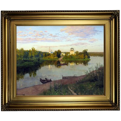 'The Evening Bells Ringing 1892' Framed Oil Painting Print on Canvas Format: Light Gold Framed, Size: 22