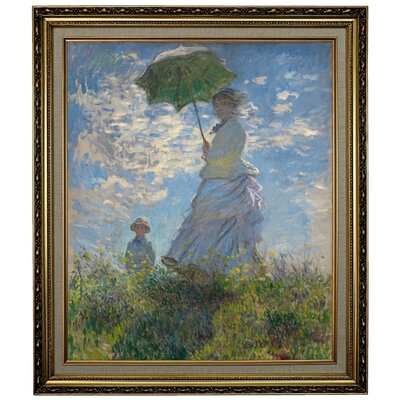 'On the Rock Cliff; Madame Monet and Her Son Jean' Framed Oil Painting Print on Canvas Format: Yellow Framed, Size: 28.15