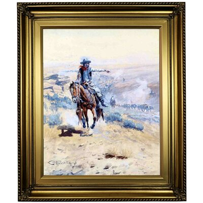 'Pointing Out the Trail' Framed Oil Painting Print on Canvas Format: Light Gold Framed, Size: 26
