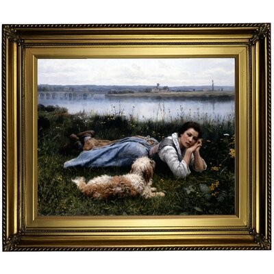 'Reverie 1866' Framed Oil Painting Print on Canvas Format: Light Gold Framed, Size: 22