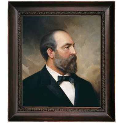'Portrait of James Garfield; 20th President of the United States 1881' Framed Oil Painting Print on Canvas Format: Dark Brown Framed, Size: 17.5