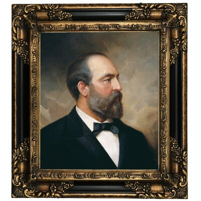 'Portrait of James Garfield; 20th President of the United States 1881' Framed Oil Painting Print on Canvas Format: Dark Gold Framed, Size: 19.25