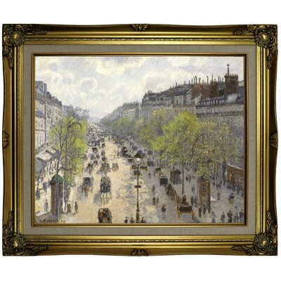 'Boulevard Montmartre, Spring 1897' by Camille Pissarro Framed Oil Painting Print on Canvas Format: Brown/Gold Framed, Size: 21.25'' H x 25.25'' W x 1.5'' D