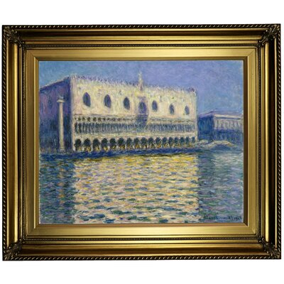 'The Doges Palace 1908' by Claude Monet Framed Oil Painting Print on Canvas Format: Light Gold Framed, Size: 22