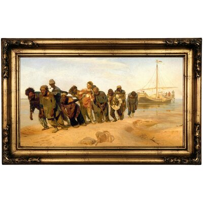 'Barge haulers on the Volga 1870' Framed Print on Canvas Format: Gold/Bronze Frame, Size: 16.5