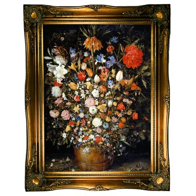 'Flowers' Framed Oil Painting Print on Canvas Format: Ornate gold Framed, Size: 31.5