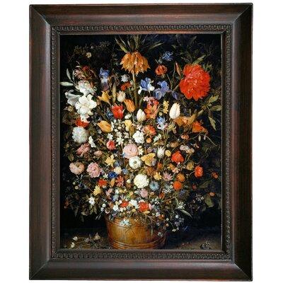 'Flowers' Framed Oil Painting Print on Canvas Format: Dark Gray Framed, Size: 19.5