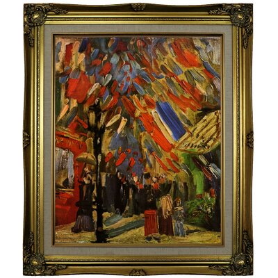 'The Fourteenth of July Celebration in Paris' by Vincent van Gogh Framed Oil Painting Print on Canvas Format: Brown/Gold Framed, Size: 25.25