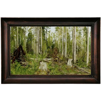 'Pine forest (a study) 1890s' Framed Oil Painting Print on Canvas Format: Dark Gray Framed, Size: 15.5