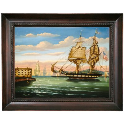 'Bay of New York; Sunset' Framed Print on Canvas Format: Brown Frame, Size: 15.5