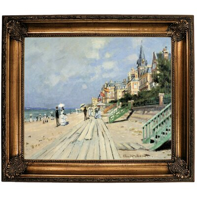 'Beach at Trouville' by Claude Monet Framed Print on Canvas Format: Bronze Frame, Size: 26.25