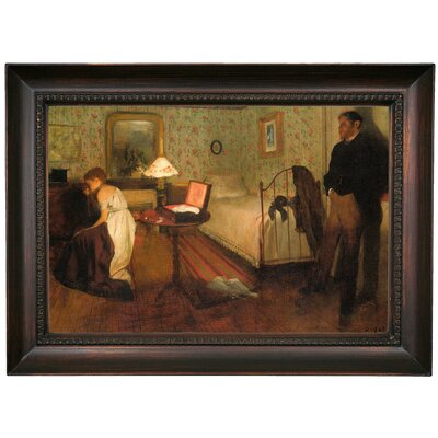 'Interior 1868' by Edgar Degas Framed Oil Painting Print on Canvas Format: Dark Brown Framed, Size: 15.5