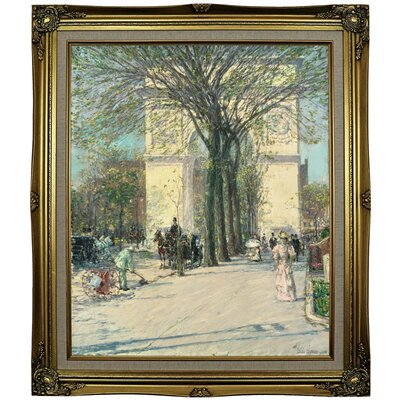 'Washington Arch, Spring 1890' Framed Oil Painting Print on Canvas Format: Gray Framed, Size: 29.25'' H x 25.25'' W x 1.5'' D