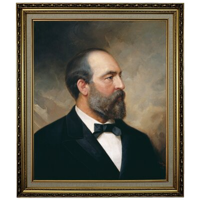 'Portrait of James Garfield; 20th President of the United States 1881' Framed Oil Painting Print on Canvas Format: Yellow Framed, Size: 28.15