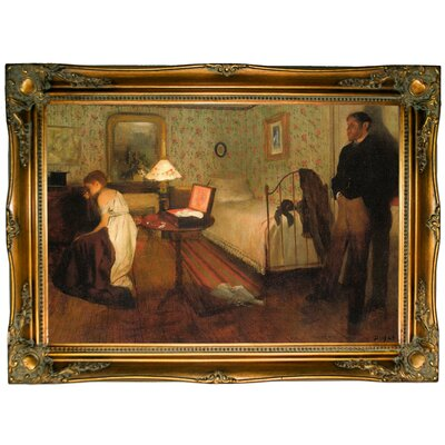 'Interior 1868' by Edgar Degas Framed Oil Painting Print on Canvas Format: Bronze Framed, Size: 24.5
