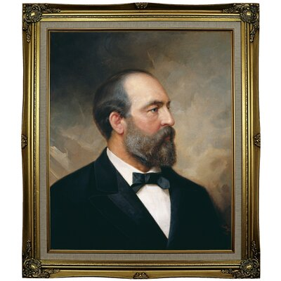 'Portrait of James Garfield; 20th President of the United States 1881' Framed Oil Painting Print on Canvas Format: Black Gold Framed, Size: 29.25