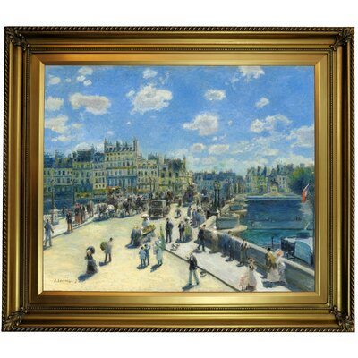 'Pont Neuf; Paris 1872' by Pierre-Auguste Renoir Framed Oil Painting Print on Canvas Format: Gold Framed, Size: 26