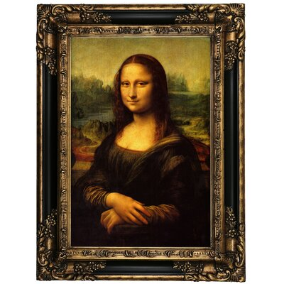 'Mona Lisa' by Leonardo da Vinci Framed Oil Painting Print on Canvas Format: Black Framed, Size: 23.25