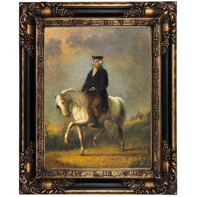 'George Washington at Mount Vernon' Framed Oil Painting Print on Canvas Format: Peru Framed, Size: 21.25