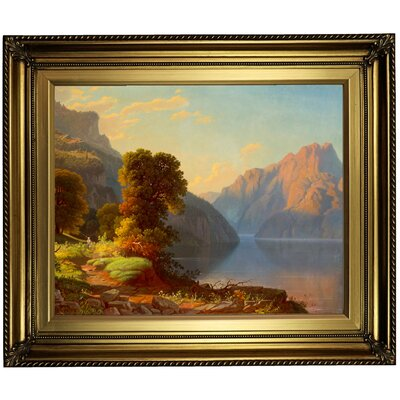 'A View of a Lake in the Mountains' Framed Print on Canvas Format: Gold Frame, Size: 22