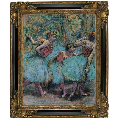 'Three Dancers (Blue Tutus; Red Bodices) 1903' Framed Oil Painting Print on Canvas Format: Black/Gold Framed, Size: 25.25