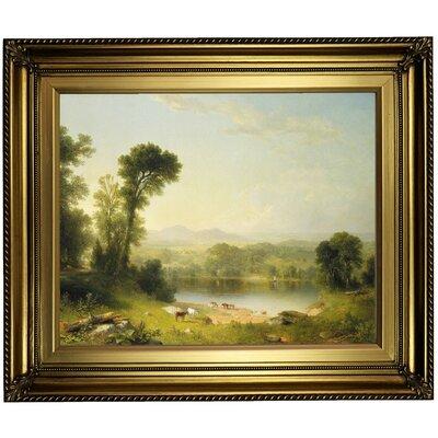 'Pastoral Landscape 1861' Framed Oil Painting Print on Canvas Format: Light Gold Framed, Size: 22